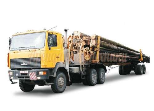 КАМАЗ-лесовоз с прицепом и гидроманипулятором- вездеход